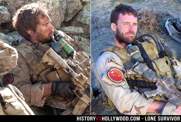 Taylor Kitsch in the Lone Survivor movie (left) and the real Navy SEAL Mike Murphy in Afghanistan in 2005.