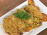 """Picture of Oven """"Fried"""" Chicken with Summer Succotash and Grilled Sweet Potatoes Recipe... I have some Heirloom Christmas Lima Beans from Rancho Gordo that I want to try with this."""