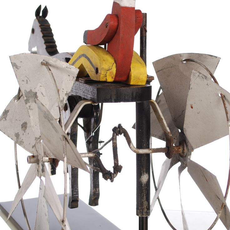 Folk Art Whirligig of a Driver and Trotting Horse «  Griffin Trading Company
