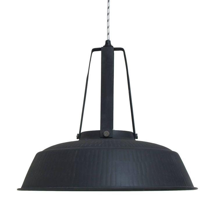 HK-living Hanglamp workshop zwart mat rustiek LARGE, industriële lamp 45x45x40cm - wonenmetlef.nl