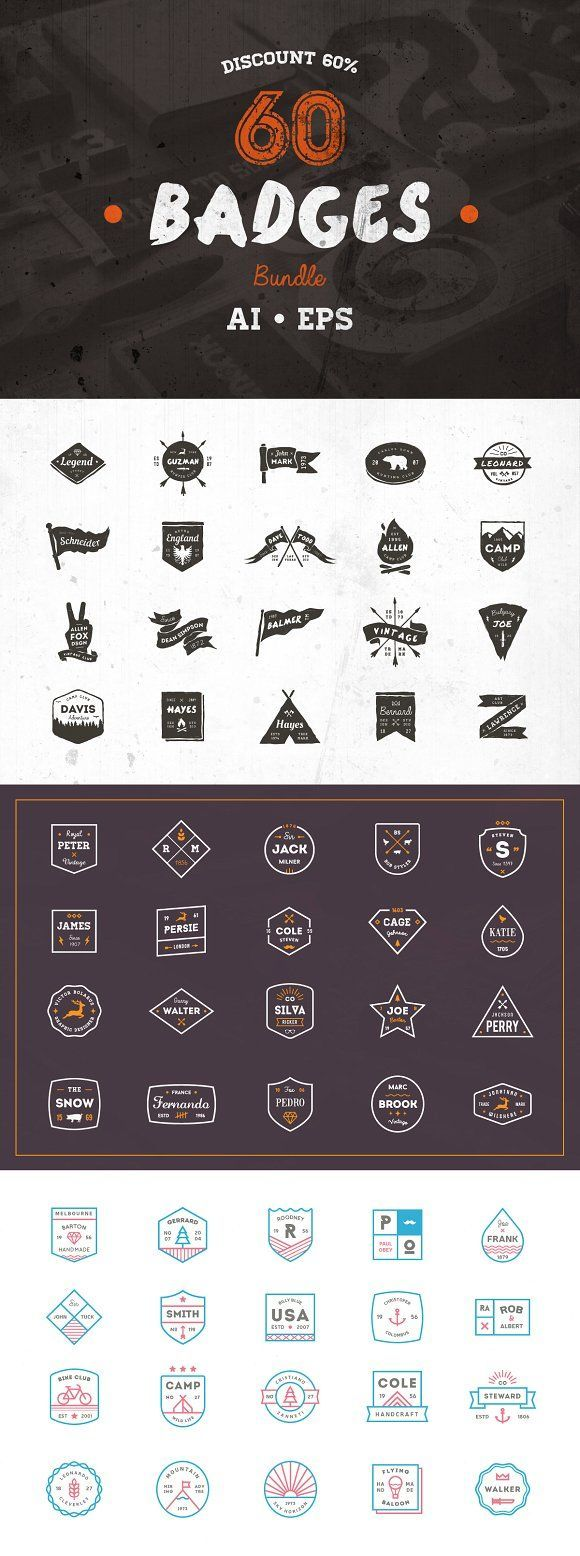 60 Badges Bundle • Discount 60% by vuuuds on @creativemarket