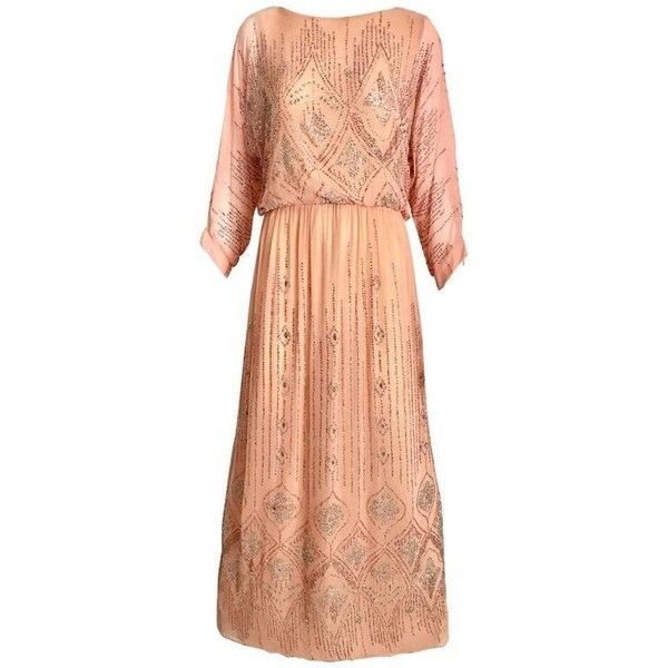 Preowned 1970s Saks Fifth Ave Peach Dress With Metallic Glitter... (49.400 RUB) ❤ liked on Polyvore featuring dresses, beige, maxi dresses, red vintage dress, glitter dress, vintage dresses, peach maxi dresses and sequined maxi dresses