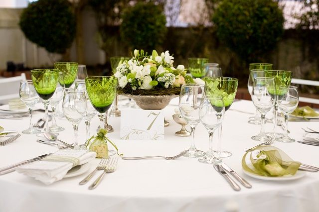 Green and white colours at Lanzerac   http://www.lanzerac.co.za/venues-facilities-wed/