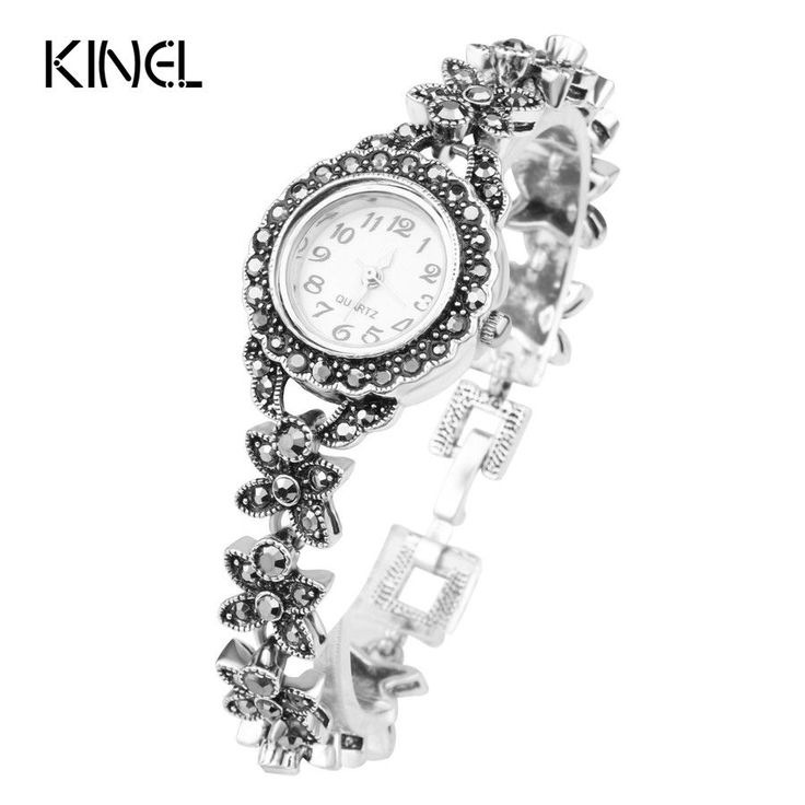 Exquisite Floral Crystal Bracelets For Women Silver Plated Decorative Watch For Women Retro Look Turkey Jewelry Free Shipping