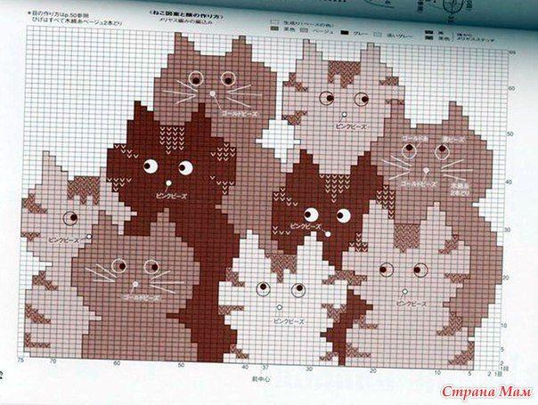 Кошачья тема в вязании.  Классика. Джемпер из черной пряжи, по низу вывязан классный жаккард из котов.  Коты в трех цветах - белые, черные, серые.  К сожалению, только фото.