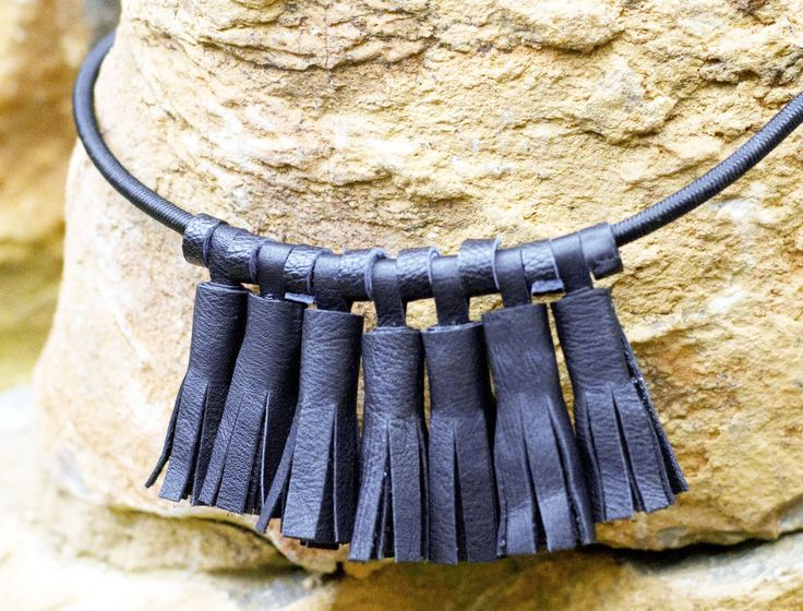 Leather Tassel Necklace by Ceelha