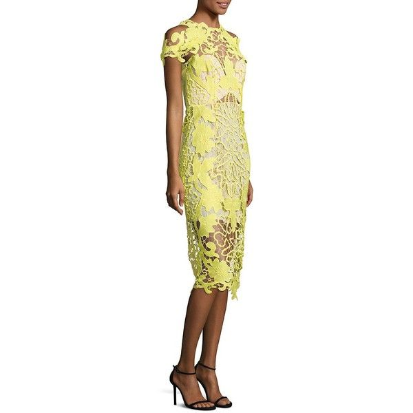 Thurley Hollyhock Lace Midi Dress ($595) ❤ liked on Polyvore featuring dresses, apparel & accessories, daffodil, beige midi dress, short sleeve dress, short-sleeve dresses, calf length dresses and scalloped lace dress