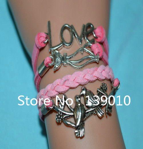 Старинное серебро привет котенок птица любовь розовая кожа замша манжеты бренд браслет браслеты новый 2016 мода женщины бижутерия