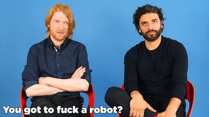 """""""Ex Machina"""" Stars Oscar Isaac And Domhnall Gleeson Play """"Would You Rather"""""""