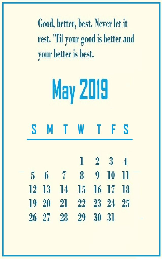 may 2019 motivational quotes calendar template