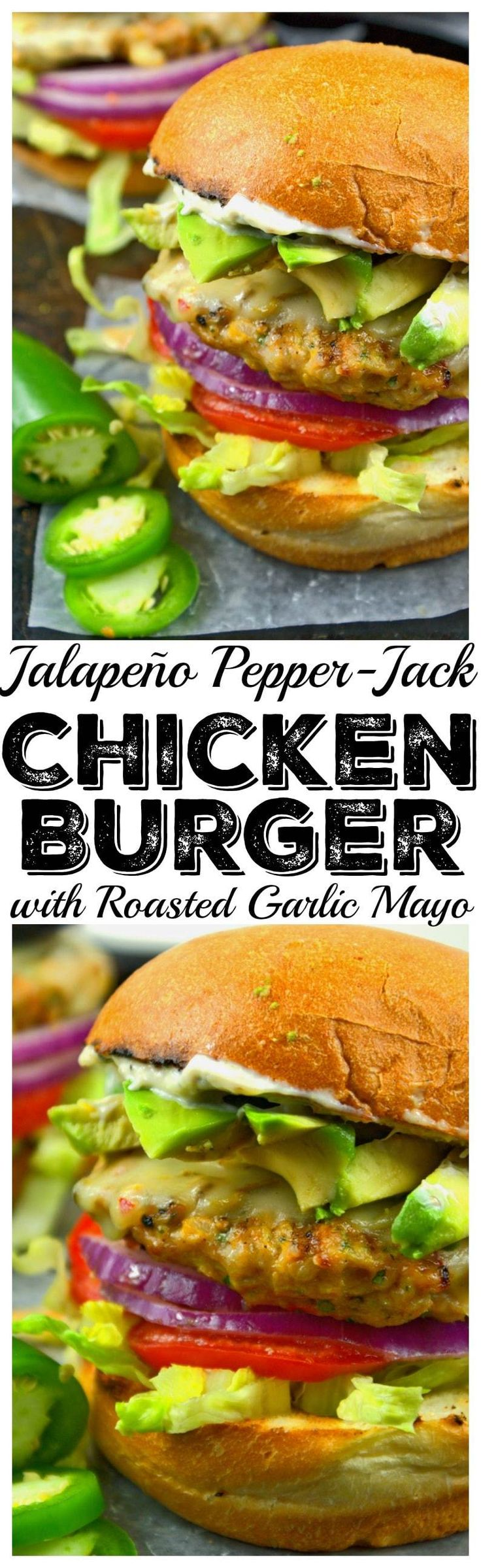 These jalapeno pepper jack chicken burgers are truly to die for. Super moist and bursting with flavor.