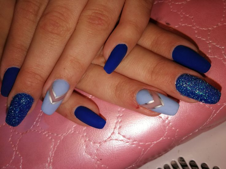 #mattnails #bluenails  #crystalnails