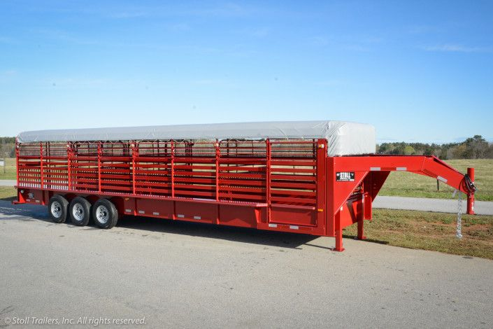 32 Foot Red Livestock Trailer With Gray Canvas Top Livestock