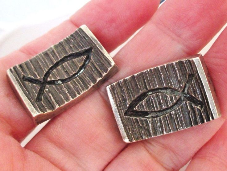 James Avery Sterling Silver ICHTHUS Gents Mens Cufflinks Modified #JamesAvery