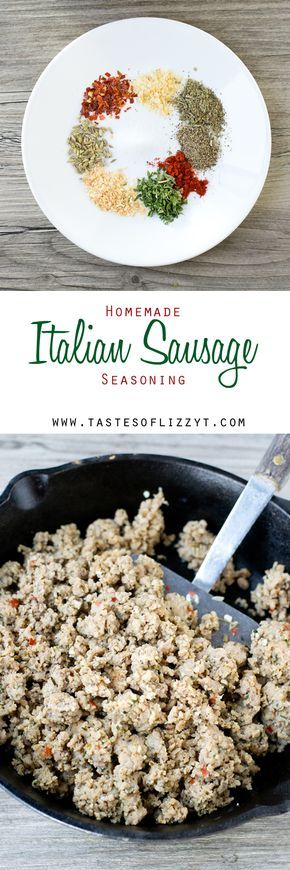 Homemade Italian Sausage Seasoning >> by Tastes of Lizzy T's.  Make your own Italian sausage at home with this homemade italian sausage seasoning recipe. Add these savory spices to turkey, pork or beef and have delicious Italian sausage ready for pizzas, meatballs, spaghetti or your favorite Italian dish. Fits Paleo and Whole30 eating plans!