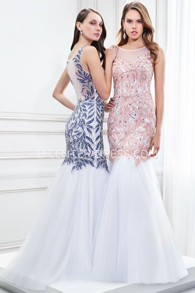 $136.19-Elegant Mermaid Beaded Scoop Neck Sleeveless Tulle Evening Gown With Illusion Back. http://www.ucenterdress.com/mermaid-beaded-scoop-neck-sleeveless-tulle-prom-dress-with-illusion-back-pMK_300339.html.  Shop for affordable evening gowns, prom dresses, white dresses, party dresses for women, little black dresses, long dresses, casual dresses, designer dresses, occasion dresses, formal gowns, cocktail dresses . We have great 2016 Evening Gowns on sale now. #evening #gowns