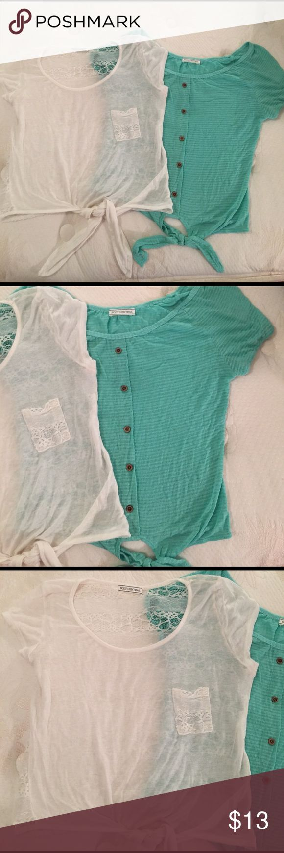 Body Central 2 tie crop tops teal/ white lace sz:M Body Central 2 tie crop tops teal/ white lace sz:M. The white one has a full lace back the blue one has light striping and brown buttons. Very cute for spring! Make an offer ❤ Body Central Tops Crop Tops