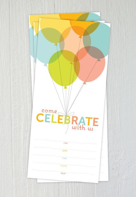 A birthday invitation with colorful balloons.