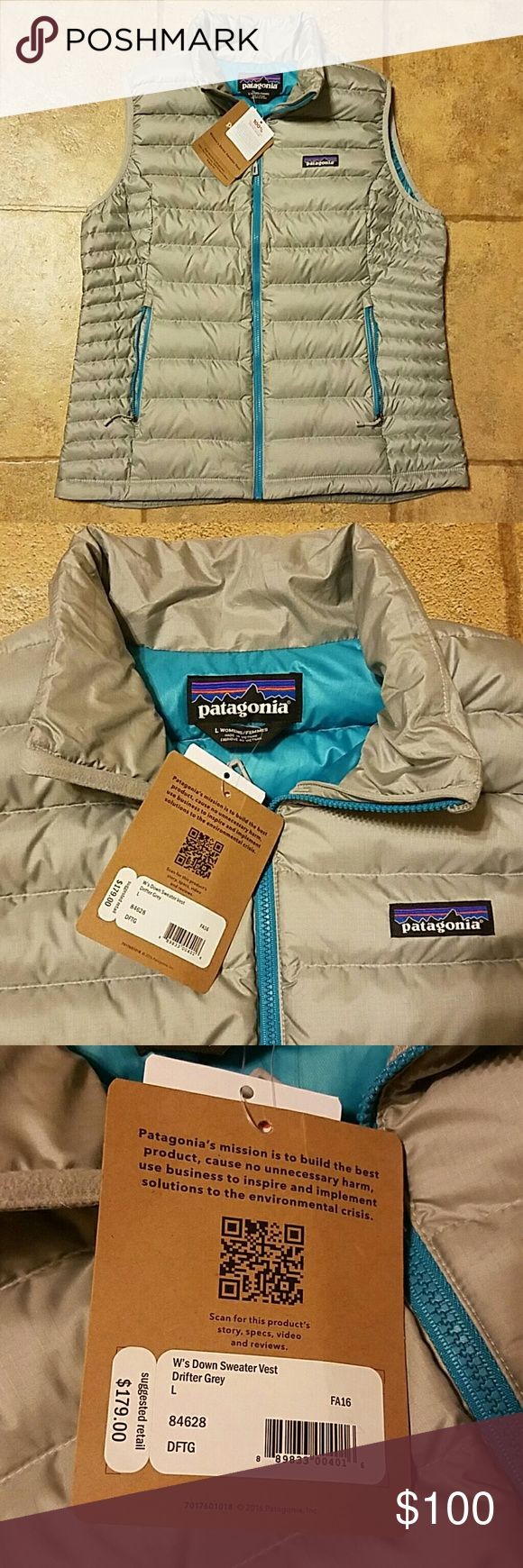 Women's sz large Patagonia down vest grey NWT New with tags Patagonia women's sz large down sweater vest. Color is drifter grey. Patagonia Jackets & Coats