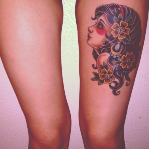 gypsy girl tattoo, love it on the shoulder. =)