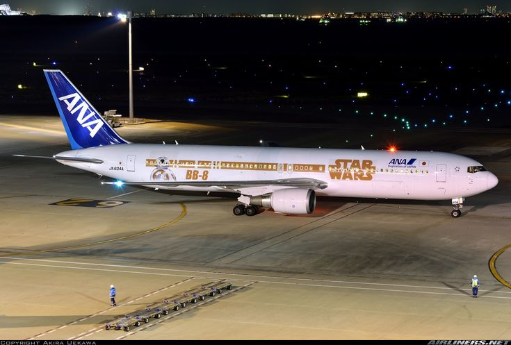 ANA Airways (All Nippon Airways) (JP) Boeing 767-381(ER) JA604A aircraft, painted in ''Star Wars-R2-D2/BB-8'' special colors Nov. 2015, ready for departure at Japan Tokyo Haneda Int'l Airport. 07/11/2015. (R2-D2=a fictional astromech droid robot character). (BB-8=another droid character).