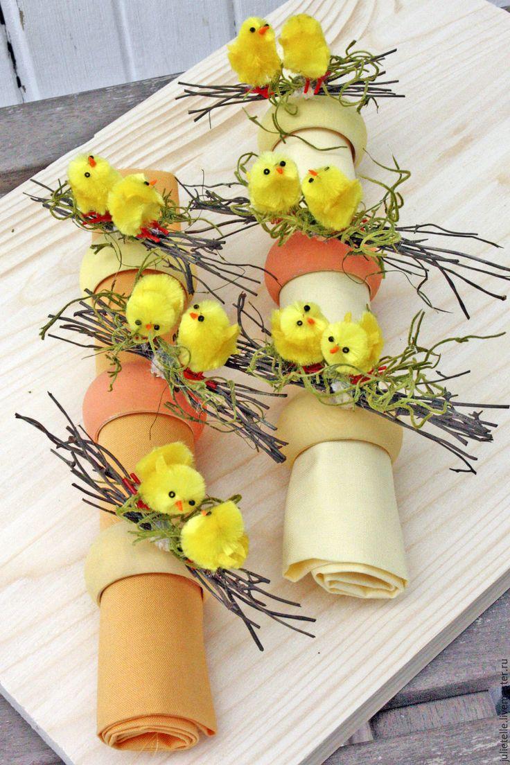Купить Кольца для салфеток Цыплята - желтый, декор салфеток, кольца для салфеток, декор кухни, подарок
