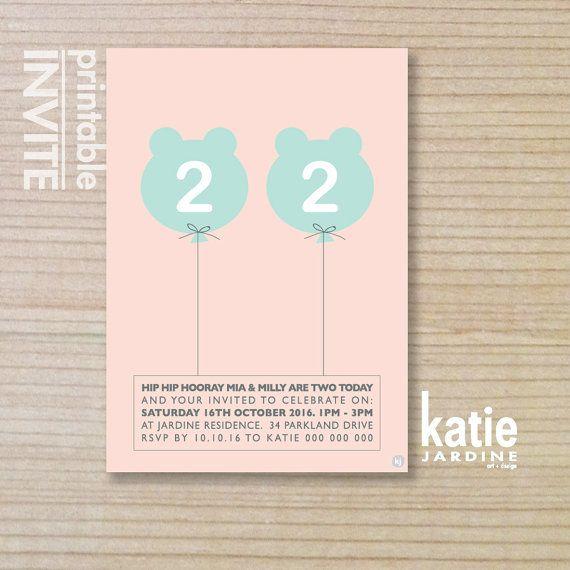 twin girls invitation - kids invitation  - printable invitation - bear balloon - pink - aqua on Etsy, $20.00 AUD