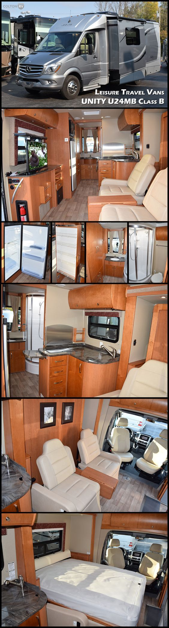"""UNITY U24M by LEISURE TRAVEL VANS Class B Motorhome. The U24MB is the Unity's flagship model, and there's no question why. Featuring a queen-size 60"""" x 74"""" automated murphy bed located in the slide, a pop-up 32"""" LED TV, curved European cabinetry throughout and a washroom to make any Class A envious, the U24MB is one big """"little"""" motorhome."""