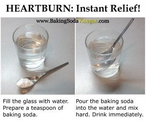 Baking Soda for Heartburn.  I use a 1/2 tsp of baking soda in a shot glass or espresso cup then fill with water and stir for 30 seconds or more.  It tastes very salty so I hold my breath or my nose when I drink it in one gulp and follow immediately with fresh water.  It's the FASTEST and best relief of heartburn and gas!!!  It really works!!!  You will love it! Better than any brand out there.