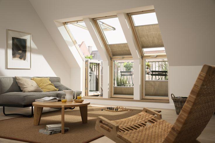 Verander de rommelzolder in uw droomzolder met inpandig balkon of dakterras met het VELUX dakterrasvenster. Wat is er mooier dan een slaapkamer, woonkamer of loft met een panoramisch uitzicht, veel daglicht en frisse lucht. http://www.velux.nl/producten/velux-dakraam/balkon-en-dakterrasvensters
