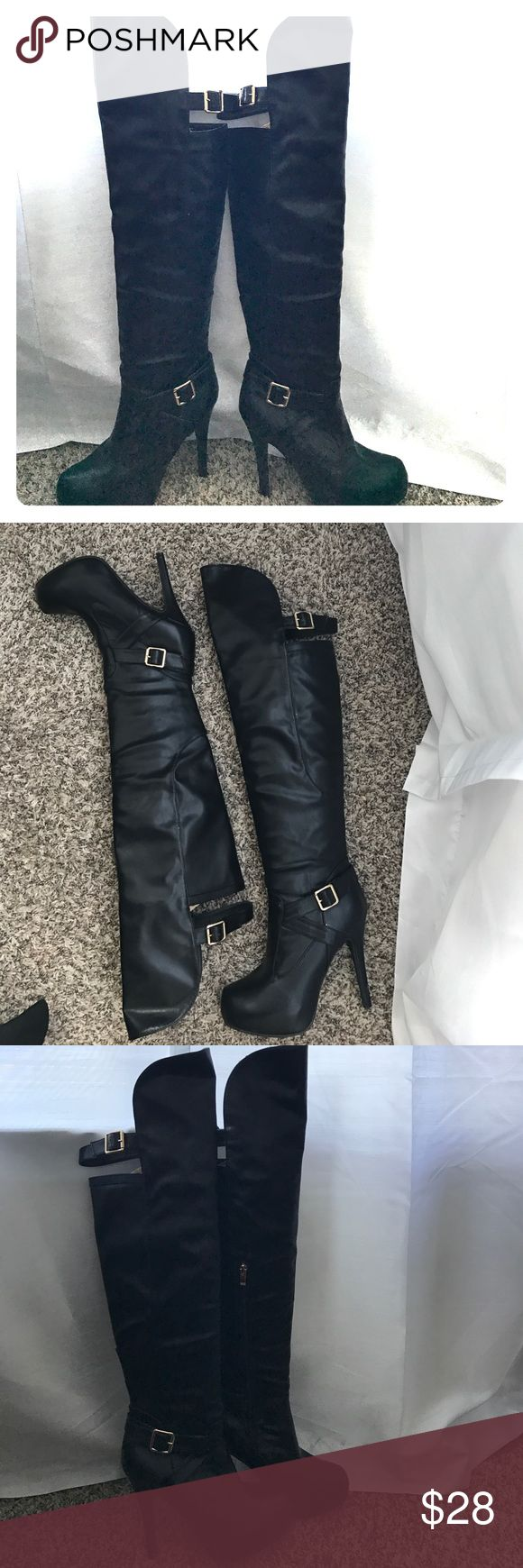 Wild Diva Knee High Boots SALE $28 Black Wild Diva Knee High Boots with Gold Hardware....Gently Used 7.5 SALE $28 Wild Diva Shoes Over the Knee Boots