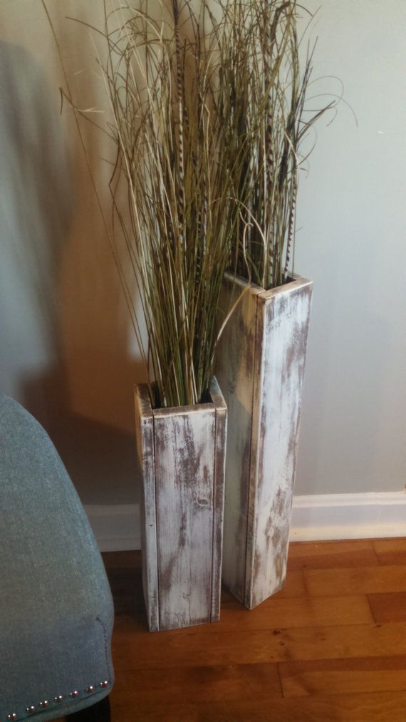 Set Of Two Rustic Wood Floor Vases 24 And 18 Wedding Decor Vase Home Decor Shabby Chic