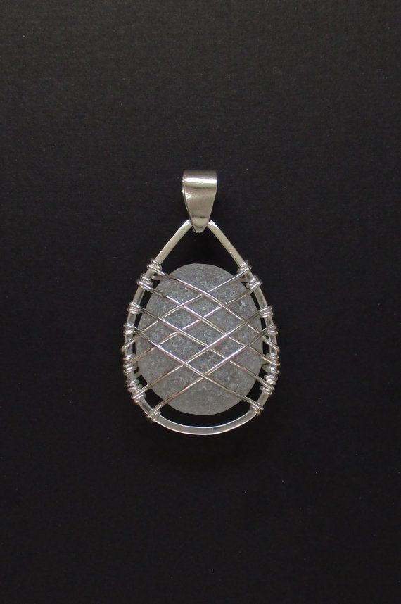 Sea Glass Jewelry - Sterling Caged Large White Sea Glass Pendant                                                                                                                                                      More