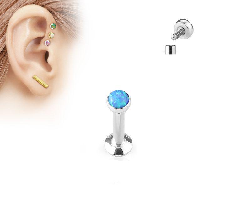 4mm Tragus Forward Helix Labret Monroe Lip Cartilage Bar Stud, Blue Opal Labret Stud