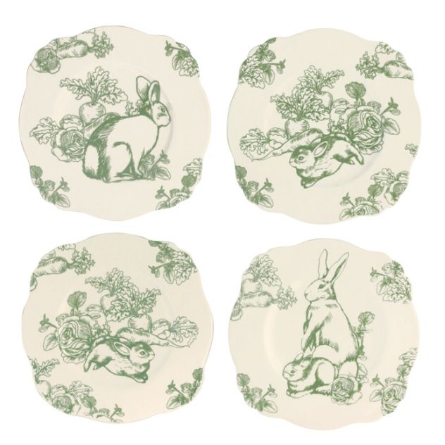 Four Asst Andrea by Sadek Green Bunny Toile Plates Just in time for Spring our delightful Bunny Toile dinnerware to welcome in the new season featuring ...  sc 1 st  Pinterest & 52 best Green Toile- Love it images on Pinterest | Dish sets Dishes ...