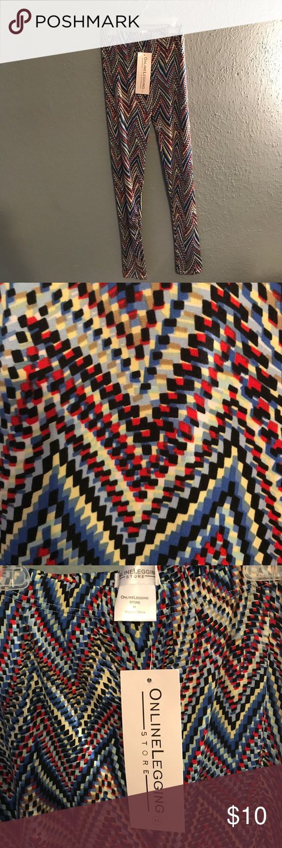 Online Legging Store Leggings Comfy, colorful, geometric patterned leggings from the Online Legging Store. Super cute and never worn. I received these as a Christmas gift and simply have enough leggings in my closet right now so would love to see someone else get use out of these! Pants Leggings