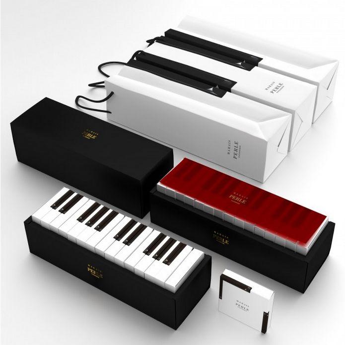 Un packaging pour des pâtisseries en forme de piano