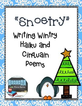 Use this resource to create adorable poem snowflakes! Students will write both a haiku and cinquain poem about snowflakes/winter/the holidays. Students will publish their poems and glue onto either side of the snowflake. Decorate the snowflake with glitter, punch a hole in the top, and hang around the room!