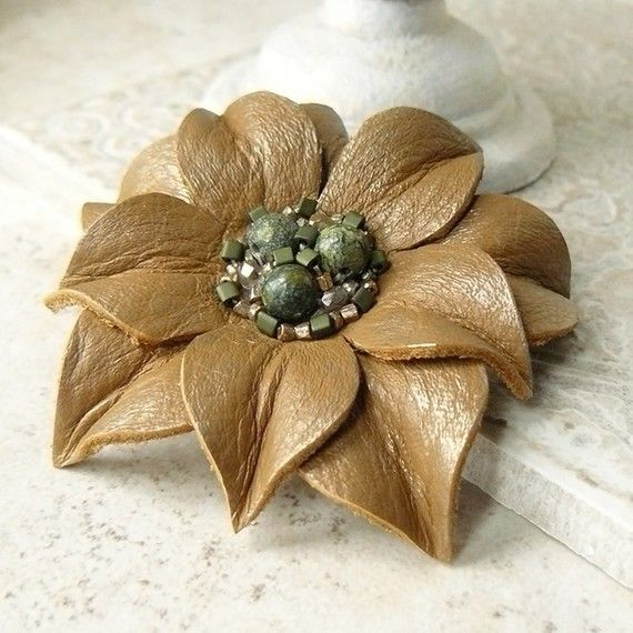 Beaded Leather Flower Pin/Brooch  Dune ❤ by Viridian on Etsy