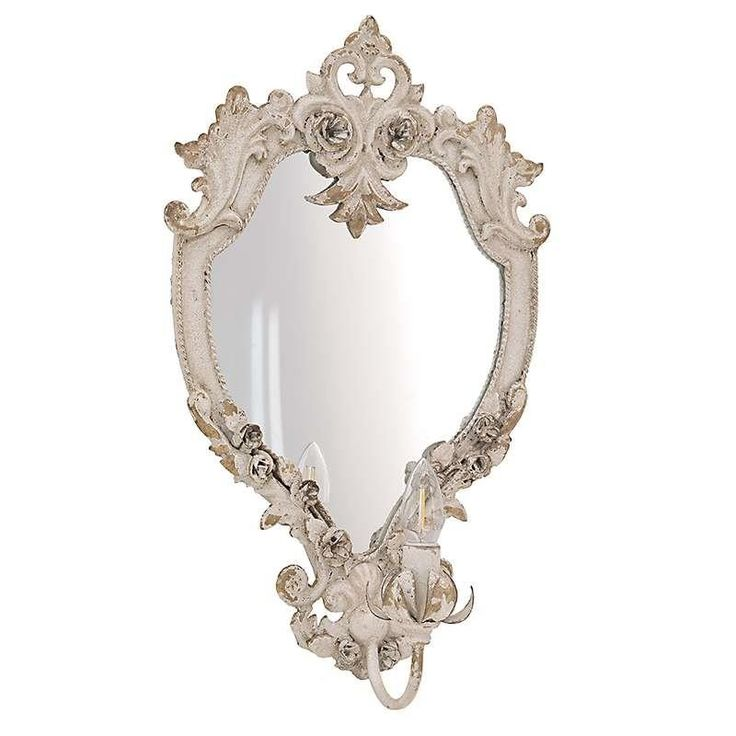 METAL MIRRORED WALL LAMP IN ANTIQUE CREAM COLOR 37X15X59 - Wall - LIGHTINGS