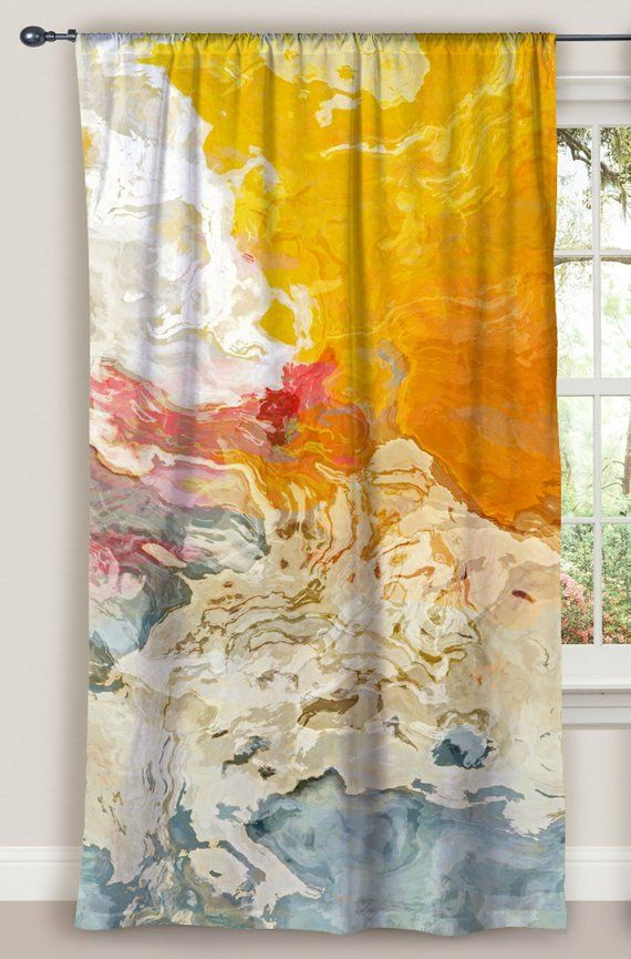 Abstract Art Window Curtain In Yellow Orange And White 50 X84