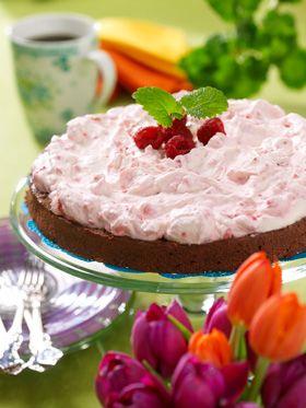 Chokoladekage med hindbærfløde