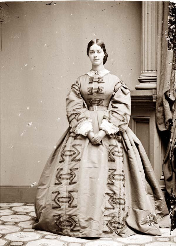 Kate Chase Sprague ca. 1855-65. She was the daughter of Salmon P. Chase, Secretary of the Treasury in Lincoln's cabinet and later Chief Justice of the Supreme Court. She was the belle of Washington until her marriage in 1863 to a wealthy senator. The marriage ended when Sprague discovered her in bed with Sen. Roscoe Conkling, a very powerful political boss in New York. He divorced her and she died, impoverished, at 58.