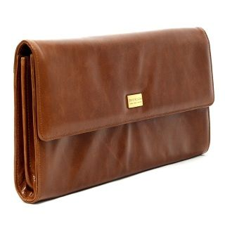 Large flap over, smooth leather purse with metal fitting, inside zip pocket . Lined with Carla Rossini signature lining.  Size: 17cm (H) x 36cm (W)