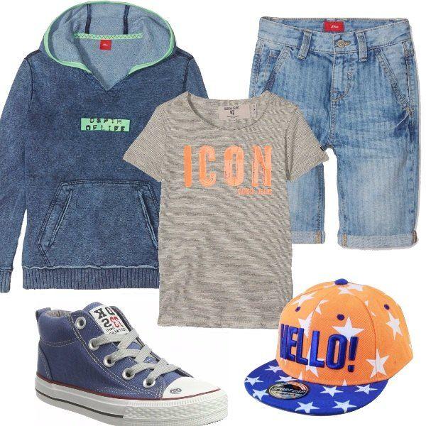 Per un ragazzo dinamico che ama stare all'aria aperta ho scelto pantaloncini di jeans, t-shirt con stampa, felpa con cappuccio, sneakers alte blu e cappello star orange. Look perfetto per il tempo libero da passare con gli amici.