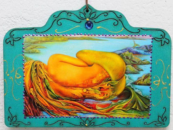 Mermaid Lying on the ocean, Sleeping mermaid, Mermaids back,Teal Blue mermaid on wood plaque, Surreal Mermaid, Tails of the sea
