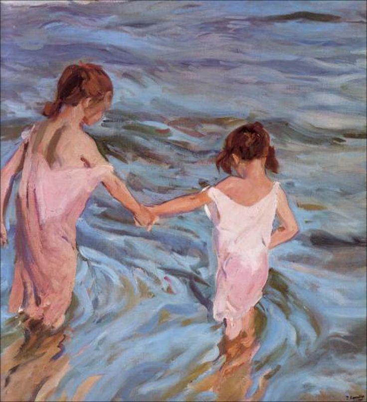 Una hermana te toma de la mano y te lleva a lugares que nunca te hubieras atrevido a explorar sola. Niñas en el mar, Sorolla, 1909.