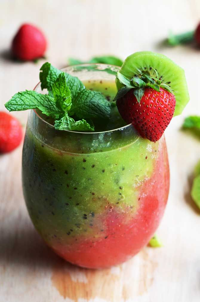 Strawberry-Kiwi Frozen Mojito. Fresh fruit, mint, rum, simple syrup, and ice makes this the PERFECT summer drink.