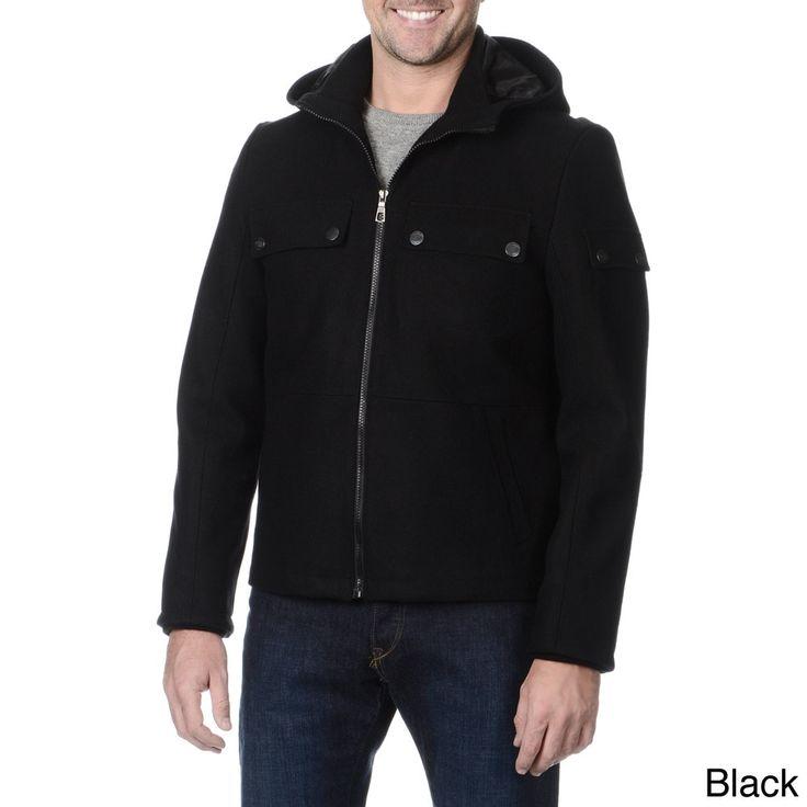 Fleet Street Men's Hooded Zipper Front Wind and Water Resistant Jacket
