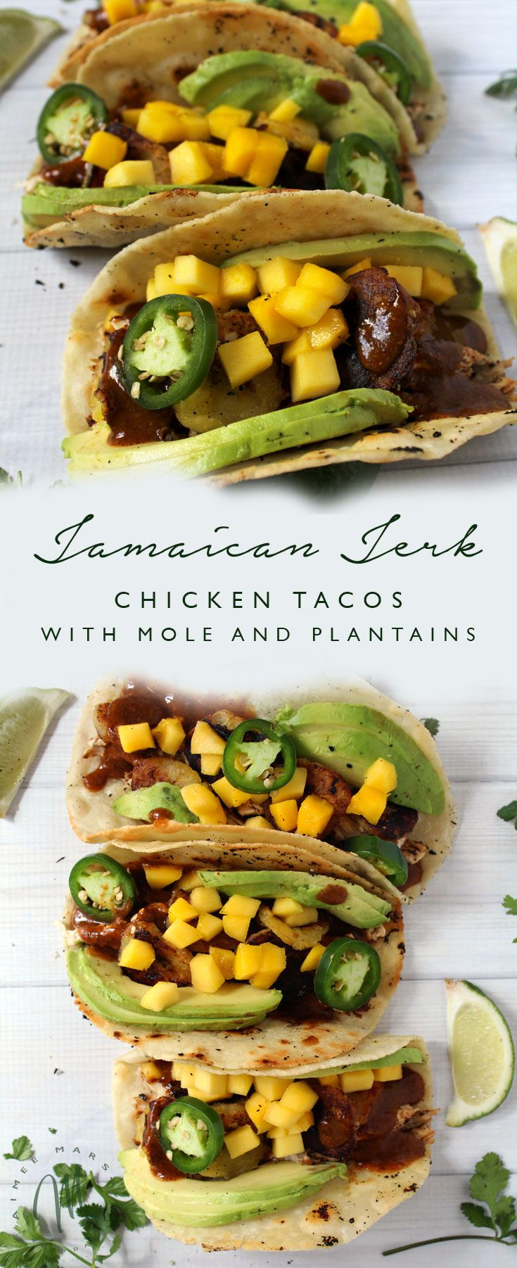 Spice up your taco dinner with this Jamaican Jerk Chicken Taco with Mole and Fried Plantains recipe and transport yourself to the island of no worries | via aimeemars.com | #Tacos #JamaicanJerkChicken #MoleSauce #FriedPlantains